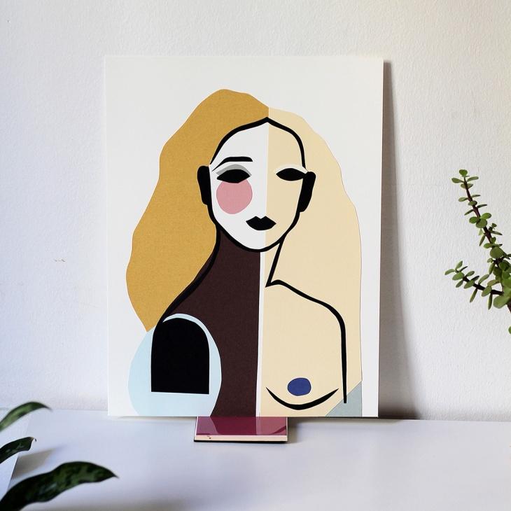 Nekane Jiménez - Imperfect woman | Dibujo con papel y collage| Barcelona (España)