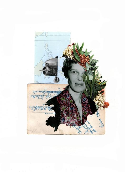 Sonia Otero - Amelia Earhart | Collage bordado| Ourense (España)